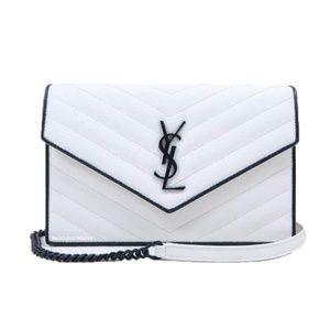 Saint Laurent Black & White Small Wallet on Chain